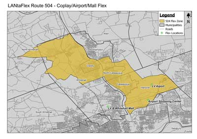 504 flex zone extent and destinations outside of Coplay/Airport/Mall Flex Zone